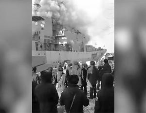 Пожар на корабле ТОФ во Владивостоке ликвидирован