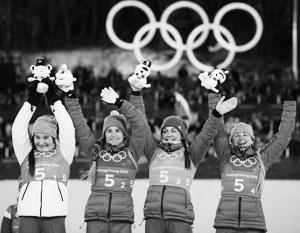 Российские лыжницы завоевали бронзу в эстафете на ОИ-2018