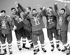 Российские хоккеисты отпраздновали победу исполнением нашего гимна