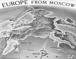 «Вид на Европу из Москвы» – рисунок к статье про холодную войну из американского журнала «Тайм» от марта 1952 года