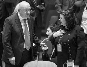Постпред России в ООН Василий Небензя и его британская коллега Карен Пирс