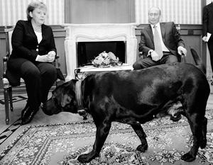 В январе 2007-го на встрече Путина с Меркель кроме цветов был еще и лабрадор Кони