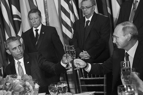 На приеме у генсека ООН Пан Ги Муна президенты России и США Владимир Путин и Барак Обама пожали друг другу руки и чокнулись бокалами. По мнению западных СМИ, встреча двух лидеров вселяет надежду на решение наиболее острых мировых проблем