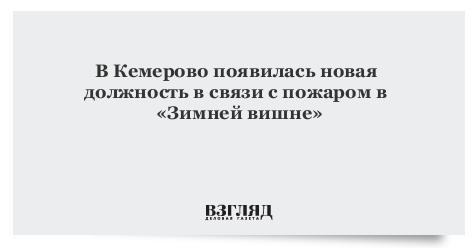 В Кемерово появилась новая должность в связи с пожаром в «Зимней вишне»