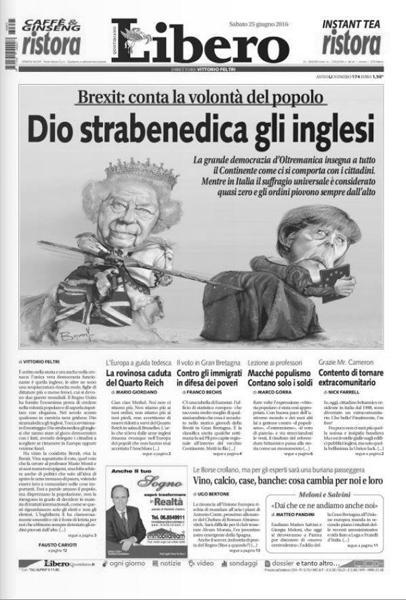 Libero смеется над аллегорией Евросоюза в лице канцлера Германии Ангелы Меркель, в которую тычет копьем британская королева Елизавета