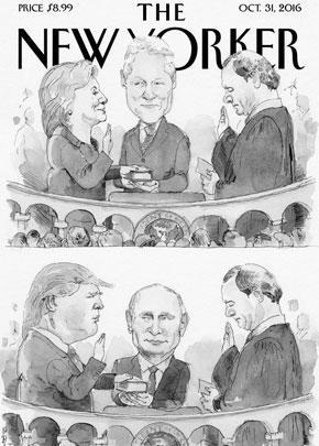 Октябрьский номер все того же «Нью-Йоркера» был предсказуемо посвящен грядущим (на тот момент) выборам в США. Издание иронично предположило: если победит Хиллари, то Библию, на которой клянутся президенты, будет держать Билл Клинтон, если же победит Трамп, то в этой роли окажется Путин