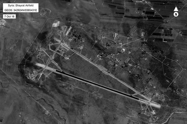 Аэродром Шайрат в Центральной Сирии в ночь на 7 апреля подвергся массированному авиаудару США