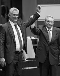 Председатель Госсовета Кубы Мигель Диас-Канель и глава ЦК КПК Фидель Кастро (фото: Irene Perez/Xinhua/Global Look Press)