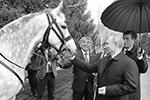 Президент Киргизии Сооронбай Жээнбеков подарил Владимиру Путину орловского скакуна и киргизскую борзую тайган. Российский лидер, находившийся в республике с государственным визитом, с удовольствием принял такие подарки. Главы других стран и раньше дарили Путину собак (фото: РИА «Новости»)