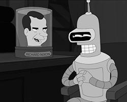 В современной американской культуре Никсон является олицетворением лживого и подлого политика (фото: кадр из мультсериала «Футурама», The Curiosity Company)