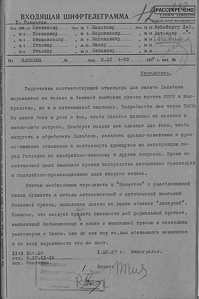 Шифртелеграмма первого советника полпредства СССР в Польше Б. Д. Виноградова в НКИД СССР о подготовке визита министра иностранных дел Франции И. Дельбоса в Варшаву. 1 декабря 1937 г.