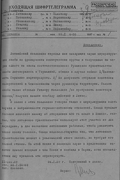 Шифртелеграмма временного поверенного в делах СССР в Германии Г. А. Астахова в НКИД СССР с предположениями о действиях Румынии в случае начала войны в Европе и возможного занятия немцами литовского города Клайпеды. 24 января 1938 г.