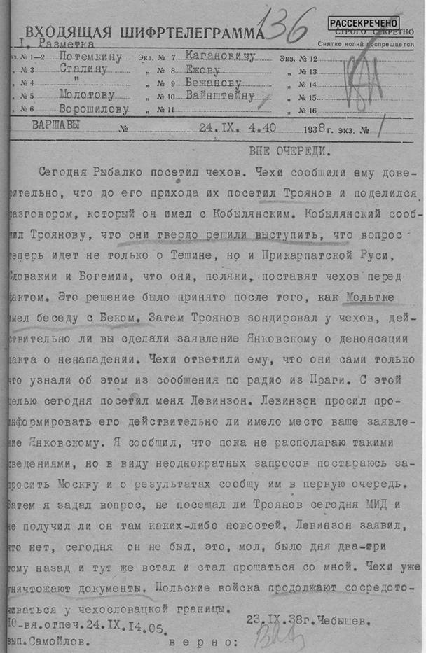Шифртелеграмма первого секретаря полпредства СССР в Польше Н.И. Чебышева в НКИД СССР о решении польского руководства выступить против Чехословакии с целью отторжения части ее территории