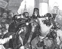 Убийство архиепископа Амвросия. Гравюра Шарля Мишеля Жоффруа