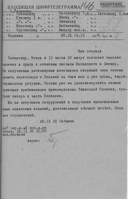 Шифртелеграмма 1-го секретаря полпредства СССР в Польше Н.И.Чебышева в НКИД СССР о готовности Чехословакии начать переговоры с Польшей о территориальных уступках. 28 сентября 1938 г.