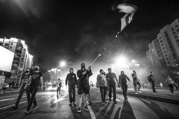 Среди протестующих в основном были мужчины