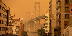 Лесные пожары окрасили небо над Калифорнией в оранжевый цвет