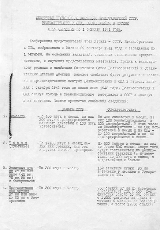 Конференция представителей СССР, Великобритании и США в Москве. Протоколы о военных поставках