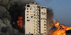 Ракеты Израиля разрушили 16-этажное здание Бурж аш-Шурук в центре Газы. В нем располагались офисы палестинских СМИ и компаний, магазины и жилые помещения. Погибли по меньшей мере три человека. Израиль заранее предупредил о ракетном ударе, поэтому большую часть людей успели оперативно эвакуировать
