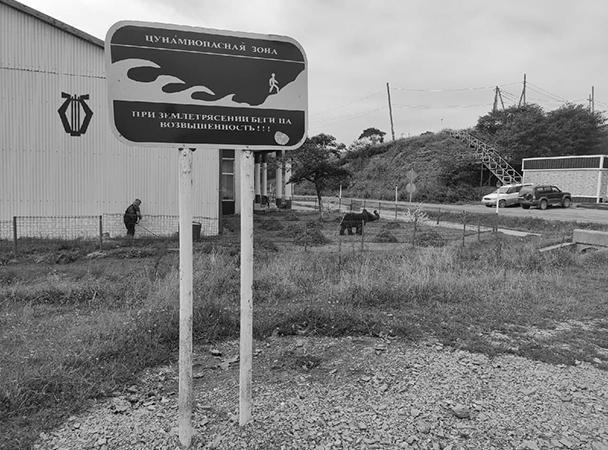 На Шикотане повсюду стоят памятки об угрозе цунами
