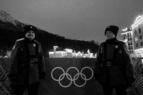Представители казачества на горнолыжном курорте в Красной поляне под Сочи