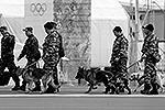 Полицейские кинологи с собаками обследуют окрестности Олимпийского парка на наличие взрывчатых веществ(фото: Reuters)