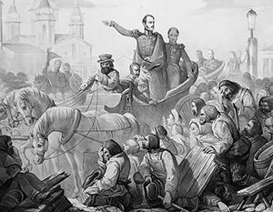 Обращаясь к бунтовщикам на Сенной площади, Николай I потребовал: «На колени!»