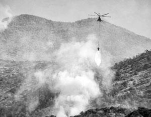 На горящий заповедник сбросили более тысячи тонн воды