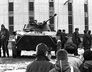 Советская бронетехника у телевышки, Вильнюс, январь 1991 года