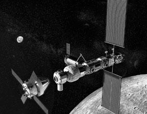 Так гипотетически может выглядеть станция на орбите Луны