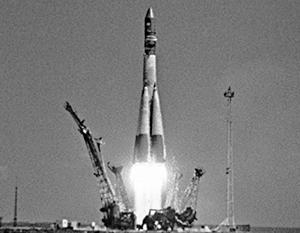 Момент старта гагаринского корабля «Восток-1»