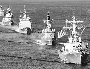Парадный строй кораблей ВМС США