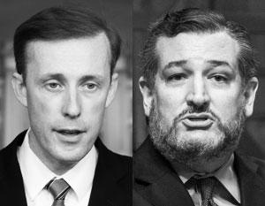 Помощник президента по национальной безопасности Джейк Салливан (слева) не смог вразумить сенатора Теда Круза (справа)