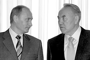 Президенты РФ и Казахстана Владимир Путин и Нурсултан Назарбаев