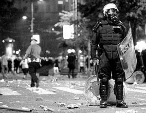 После ночных погромов порядок в сербской столице восстановлен