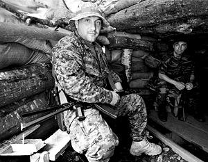В блиндаже грузинских войск в верхней части Кодорского ущелья