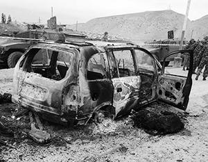 От транспорта боевиков остались только обгоревшие остовы