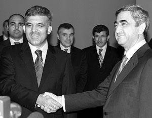 Президент Турции Абдулла Гюль и президент Армении Серж Саргсян