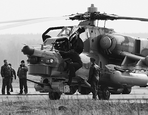 При посадке Ми-28Н ударился кабиной о землю