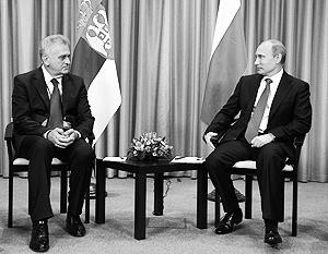 Глава России Владимир Путин и президент Сербии Томислав Николич встретились в Москве