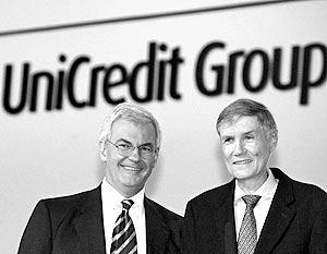 Генеральный директор UniCredit Алессандро Профумо и глава HypoVereinsbank Вольфганг Шприслер
