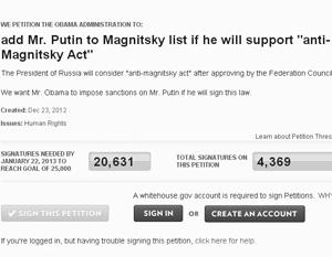 По мнению экспертов, петиция с требованием включить в «список Магнитского» имя Владимира Путина может быть элементом шантажа России