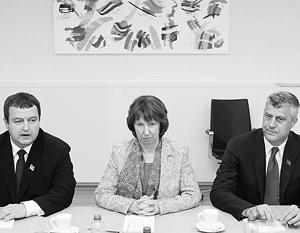 Ивица Дачич (слева) и Хашим Тачи нашли общий язык через баронессу Кэтрин Эштон