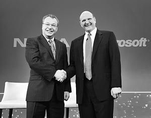 Стивен Элоп из Nokia и Стив Балмер из Microsoft