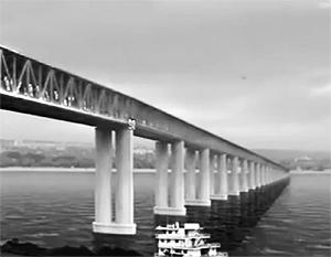 Это проект моста через Керченский пролив, разработанный российской компанией «Гипростроймост»