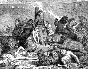 В Риме первых христиан скармливали животным для увеселения толпы