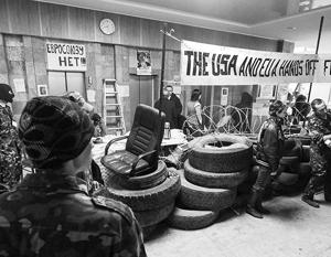 Донецкий горсовет взяли под контроль люди, которые представились активистами харьковского «Оплота»