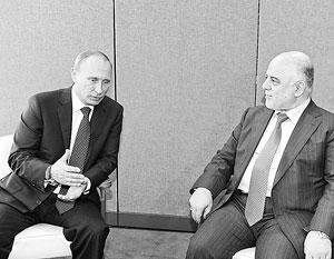 Иракский премьер Хайдар Абади с Владимиром Путиным в Нью-Йорке 28 сентября 2015 года