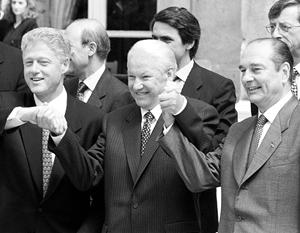 В церемонии заключения Акта 1997 года участвовали Билл Клинтон, Борис Ельцин и Жак Ширак
