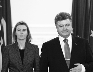 Глава европейской дипломатии Федерика Могерини и президент Украины Петр Порошенко